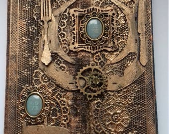 "Steampunk leather journal ""love"""