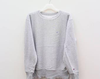 Vintage CHAMPION Sportswear Small Logo Gray Pullover Sweater Sweatshirt Size L