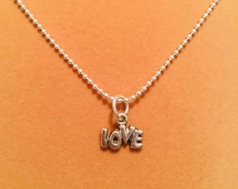 Silver Love Charm Necklace