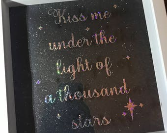 Kiss Me Under The Light Of A Thousand Stars - Ed Sheeran Song Lyrics Box Frame *Valentines Gift*