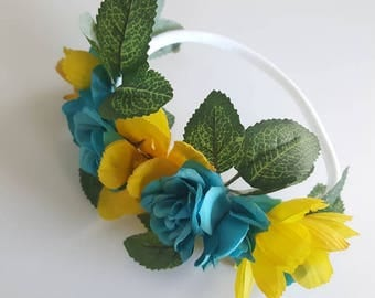 Yellow & Blue Floral Crown