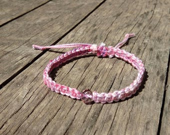 shades of pink with a macrame Bracelet Bead