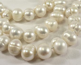 64 inch Hand Knotted 9-10mm Ringed Potato Freshwater Pearl Long Necklace, Genuine Natural Pearl Necklace, Long Bridal Necklace (314-NKPRW64)