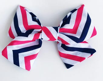 Pink & Navy Chevron Bow