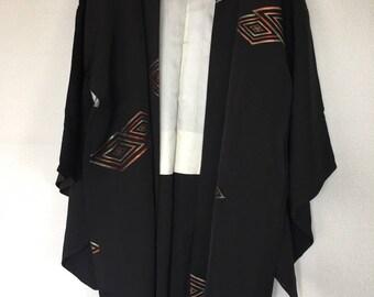 Vintage Japanese kimono Jacket, Silk crepe Haori, cool colourful diamond black /0021