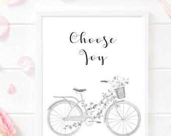 Choose Joy PRINTABLE, Choose joy Print, Bicycle Print, Printable Decor, Motivational Quote, Calligraphy Print, Inspirational Print, Joy