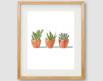 Cactus Wall Art, PRINTABLE Cactus Wall Art, Gallery Wall Prints, Succulent Prints, Bathroom Art, Botanical Art, Boho Print, Botanical Print