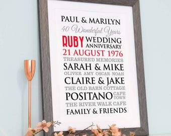 Personalised Ruby Wedding Anniversary Art