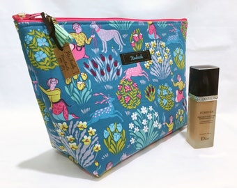 Teal Floral  Large Cosmetic Bag, Large Toiletry Bag, Travel Bag, Large Make up Bag, Makeup Bag, Large Deep Cosmetic Bag. Gift for her.