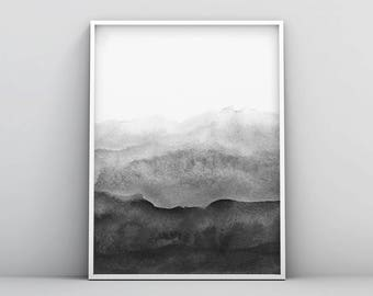 Contemporary Art, Black White Abstract Wall Art, Printable Modern Minimal  Ink Painting, Home