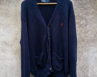 Vintage Rare! POLO RALPH LAUREN Small Pony Embroidery Knitwear Cardigan