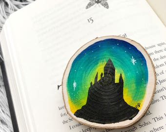 Wizard academy painted wood slice magnet