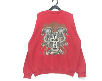 vintage dog town sweatshirt crew neck pullover with red colour