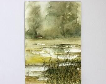 Original watercolor painting Landscape, original watercolour nature paysage, watercolor woodland decor, Landscape Painting Watercolor Art