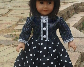 black and white dress with beret for 18 inch doll
