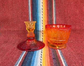 Vintage Amberina Glass Candle Holder and Dish