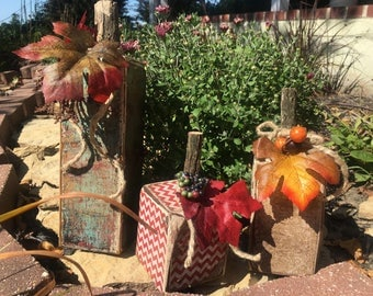 Rustic, Handcrafted Wood Fall Pumpkins, 4x4 Decor, Weathered, Fall Decor (Set of 3)