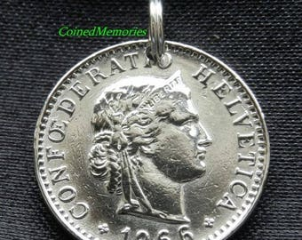 Vintage Switzerland - 1966 - The Beautiful Symbol of Liberty - 51 Years Old - Genuine Coin Pendant CM1