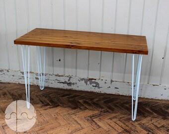 Rustic Vintage Industrial Wood Dining Table Desk Baby Blue Metal Hairpin Legs