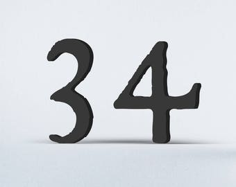 Flat Cut Acrylic House Numbers - Historic Fell Type