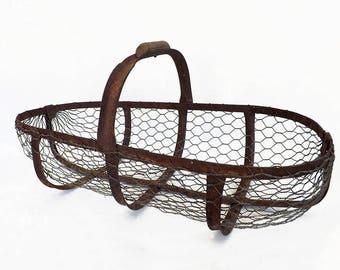 Old iron - Antique apple basket chicken wire basket