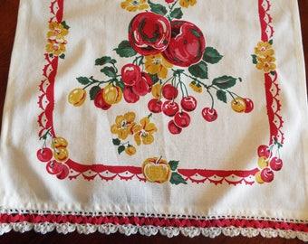 Vintage Moda Cherries Apples Tablerunner 1990's
