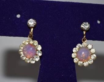 Earrings screw back faux opal and rhinestone