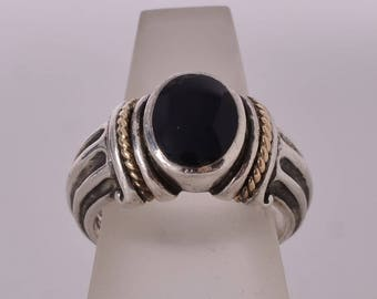 Excellent Kabana 14K and Sterling Silver Ring with Onyx Stone 7.5 US