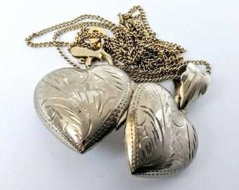 Vintage Sterling Silver Heart Locket Necklace