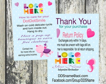 Sea Turtle Thank You/Care Card with Return Policy, Customized and Double Sided DotDotSmile