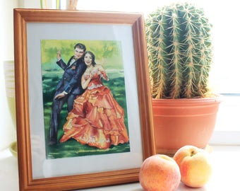 Wife statement gift Family portrait Custom painting painted realism family kids portrait painting from photo custom wedding portrait