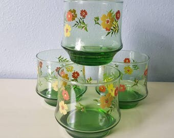 Vintage Libbey Juice daisy flower glasses