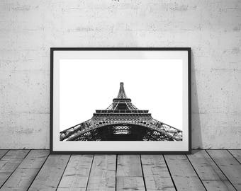 Paris Print, Wall Art, City Photography, Eiffel Tower Print, Digital Print, Black-White Photo, Printable Poster, Digital Download, 4 JPG's