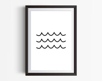 Waves Minimal Art Print, Printable Wall Art, Black And White, Dorm Room Decor, Nursery Wall Art, Minimal Wall Art, Ocean Wall Decor Print