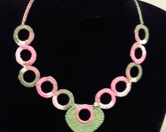 Variegated pink and green handmade crochet necklace