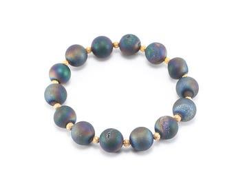 Rainbow Druzy Beaded Bracelet