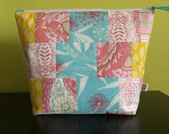 """Handmade large zipper pouch for knitting and crochet project 11.5"""" x 7.5"""" x 8.5"""" x 3.5""""  *Isabelle*"""