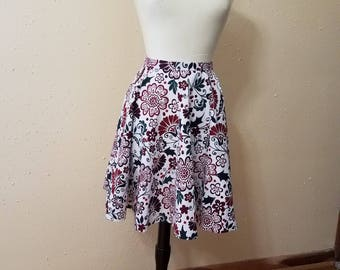 Floral Cotton Circle Skirt - 30in Waist