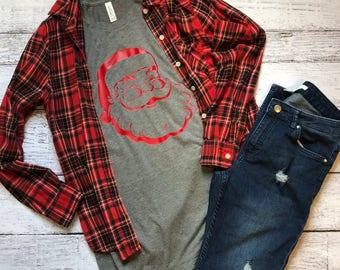 Santa Shirt / Christmas Shirt / Graphic Tee / Graphic Tshirt / Gifts For Her / Christmas Gift/ Holiday Apparel / Santa Claus Shirt /