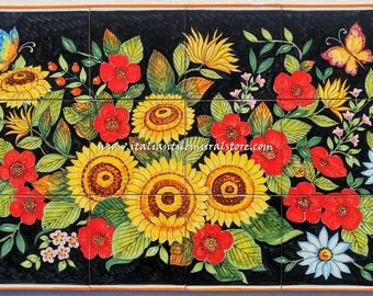 Flowers and butterflies  artistic wall panel on ceramic tile mural hand painted. Made in Italy. Ceramic tile art. Tile art panels