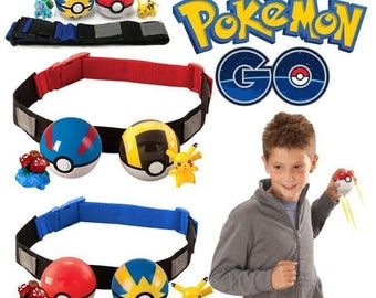 Pokemon Clip on Carry Kids Adjustable Poke Ball Belt Pretend Play Game Toy Gift for Christmas & Birthday! 100% brand new and high quality!