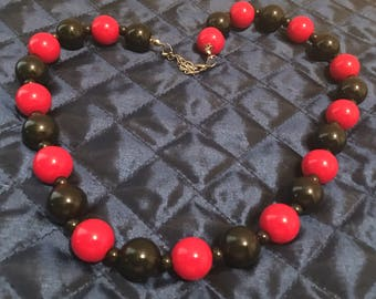 Red and Black Chunky Bead Necklace