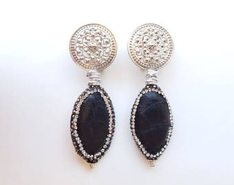 Handmade earrings, Earrings Made in Italy, elegant earrings, leather earrings, elegant earrings, dangling earrings, marcasite