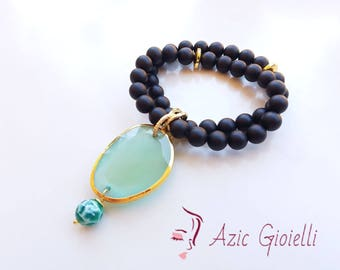 Bracelet, handcrafted, elastic, gemstones, gemstone jewelry, onyx, handmade, gift for you, anniversary, made in Italy