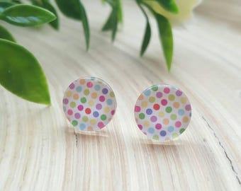 Beautiful Coloured Rainbow Polka Dot Glass Cabochon Stud Earrings
