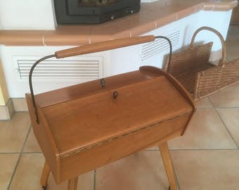 Vintage sewing sewing box sewing trolley table sewing box