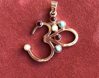 Om Silver and semi precious stones pendant