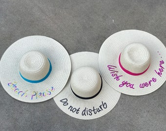 Floppy Hat, Sequin Floppy Hat, Beach Hat, Sun Hat, Straw Hat, Derby Hat, Gifts for Her, Gifts for Bride, Vacation