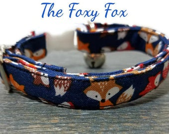 Small Foxes Cat Collar, Navy Blue Cat collar, Foxy Cat Collar, Breakaway Collars, Cotton Cat Collars, Cat Collars, Kitty Collar, Cats Collar