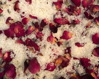 Lavender & Grapefruit Bubble Bath Salt w/ Rose and Lavender Petals | Contains 100% Pure Dead Sea Salt
